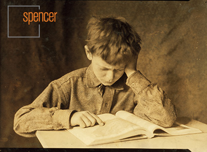 """""""Boy Studying"""", Lewis Hine, ca. 1924 (modified with Spencer Foundation logo)"""